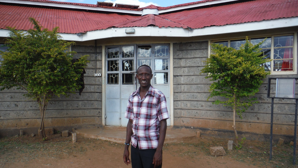 Noah outside the Library and Computer Lab
