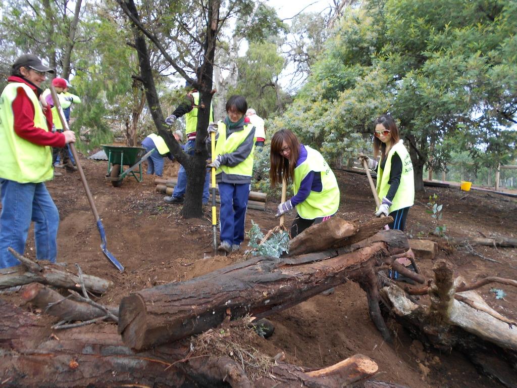 Volunteers building the digging mound