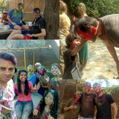 Holi celebration with Peter, David and Christian
