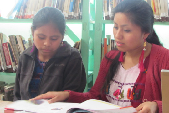 Marina helping a library member complete homework