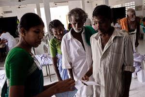 Registration at one of Aravind's 2600 Eye Camps