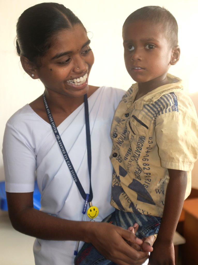 Ratheesh and his nurse at Aravind Eye Hospital