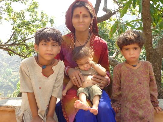 Khasti with her three daughters