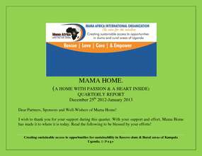 Mama Africa 2013 Quaterly Report Dec25-Feb 2013. (PDF)