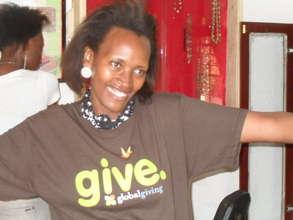 Winnie in global giving T-shirt