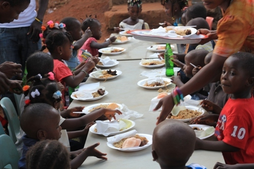 Children eating at party