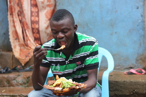 youth enjoying a meal