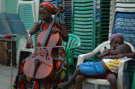 Practising the cello
