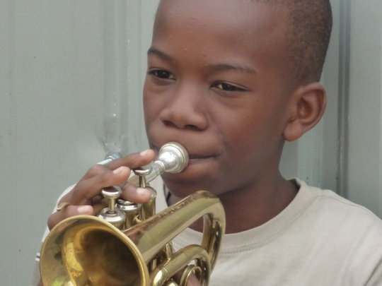 Young boy practising before one rehearsal