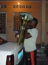 Practising the tuba