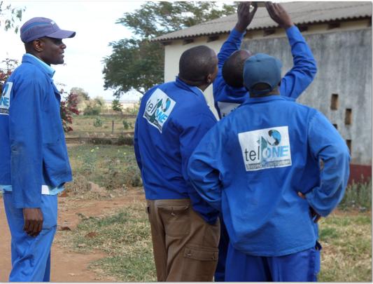 TELONE Technicians Installing VSAT At Rimbi High