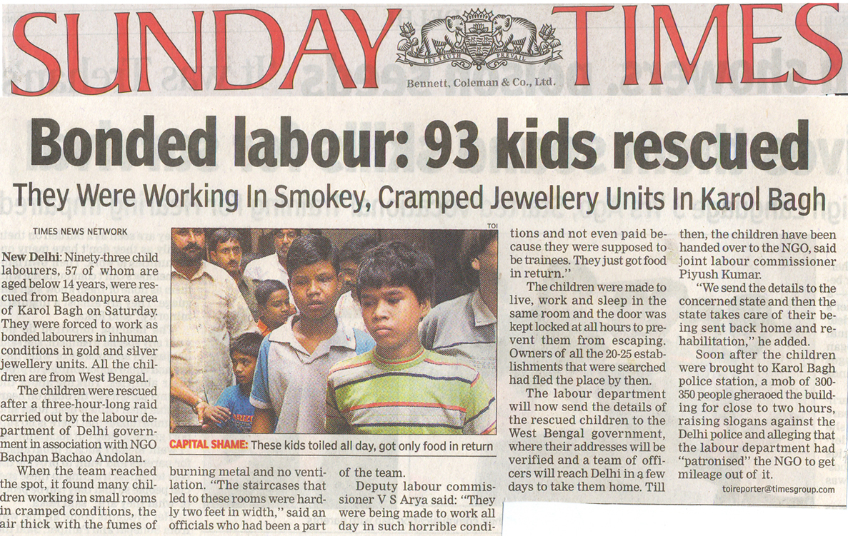 rehabilitation of 360 trafficked child laborers  the asian age news article
