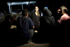 Angelina Jolie meets Syrian refugees in Jordan.