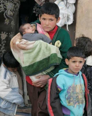 Syrian refugees arrive in northern Lebanon.