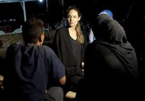 Angelina Jolie meets recently-arrived Syrians...