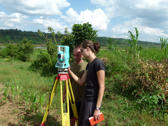 Sonya and Andrew from EWB-CU survey the new land