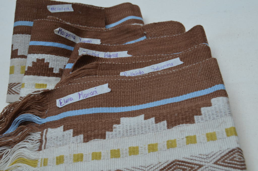 Inti textiles with artisan name of who made them