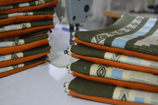 Our Inti Crossbody bag during production