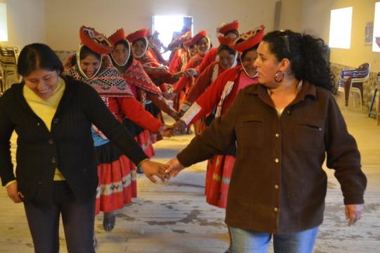 Martha and Mercedes lead workshop with weavers