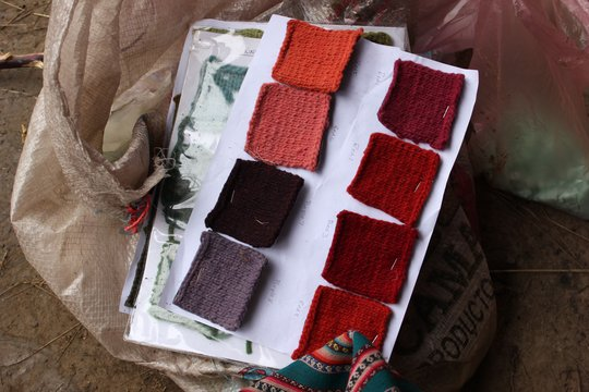Natural dyes color swatches