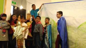 Kids participating on a traditional nativity scene