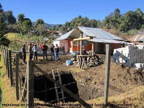 Preparing the pit for the septic tank in Quechip
