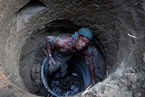 Building a well in West Bengal, India