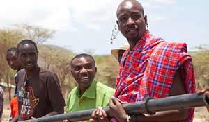Sabore with Maasai villagers