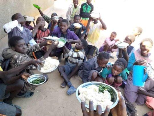 Feeding programme at Bunsanga School