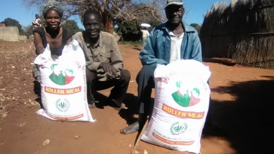 Distribution of ground maize - Kamwi Village