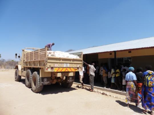 Distribution of ground maize - Bunsanga Community