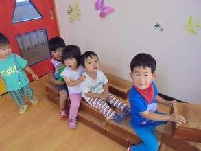 Children between 1 and 2 at Tomioka Kindergarten