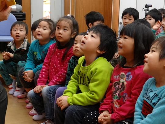 Children were absorbed in the storytelling
