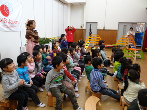 Children welcomed Santa Claus with big smiles