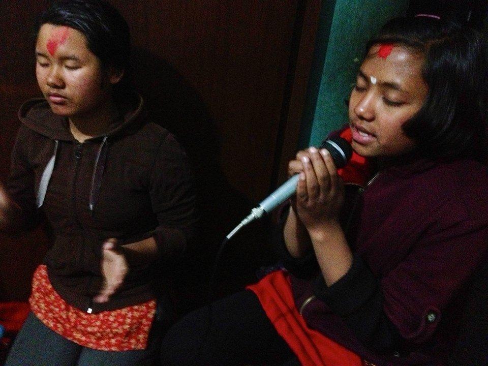 Children practicing singing.....