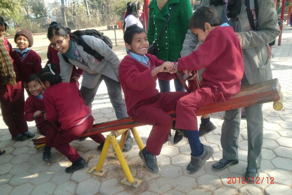 Playing in fun park