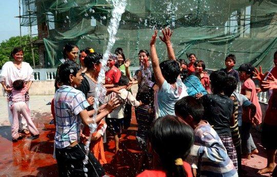 Colour Festival Holi celebrating at Raksha Nepal