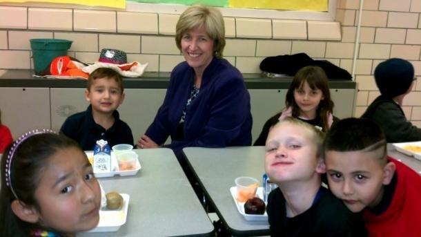 Jill Kidd at Pueblo City Schools serves breakfast