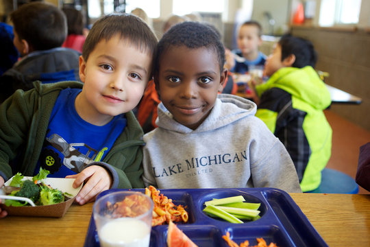 Two Boys Eating Healthy School Lunch