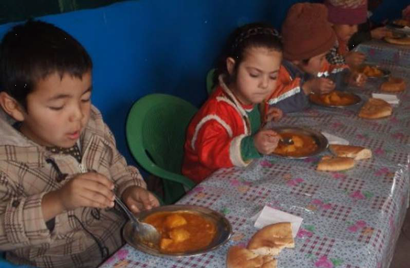 Children get a hot lunch each day