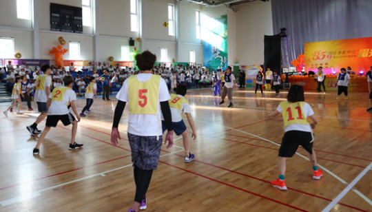 Dodgeball competition between staff and clients