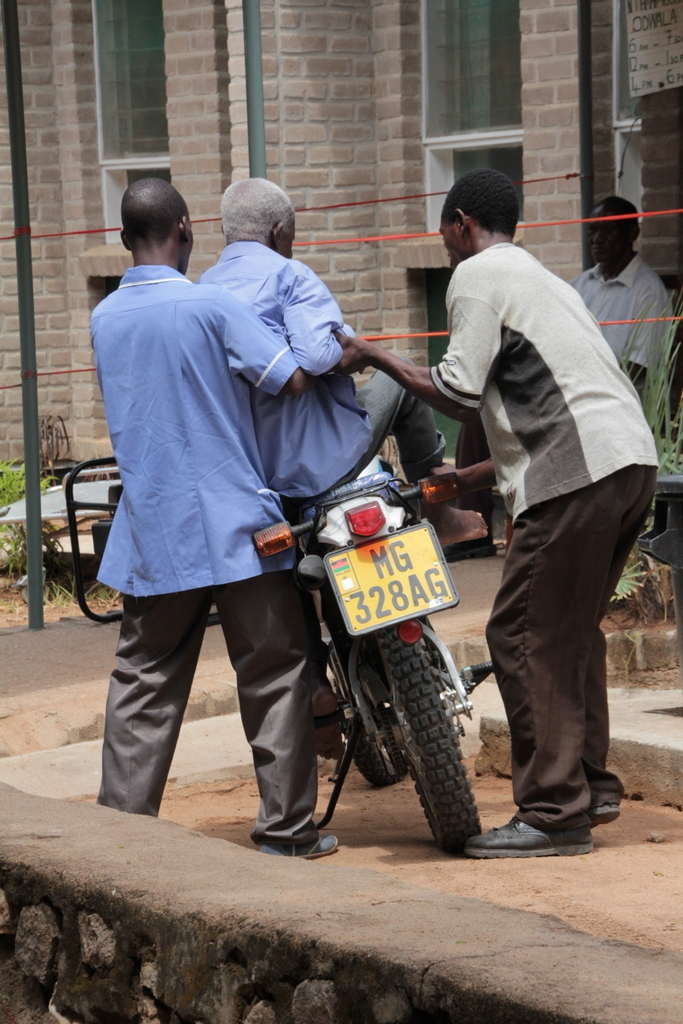 patient travels by motorbike as ambulance broken