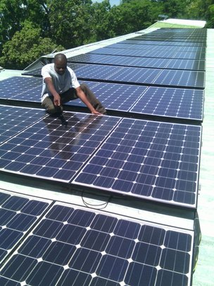Solar panels installed on the Hospital roofs