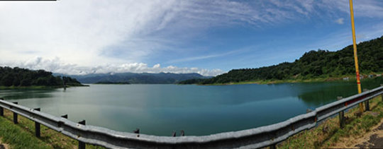 Panoramic view at the Arenal Dam on the way