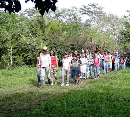Leading one of the school groups at La Reserva