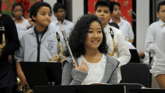 This student is all smiles after her performance