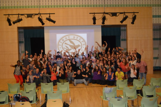 Music teachers celebrate after a session!