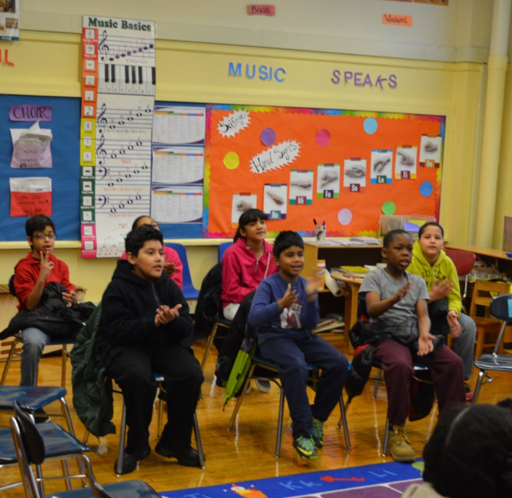 Students eagerly participate in music class!
