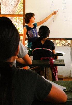 Volunteer teaching a class