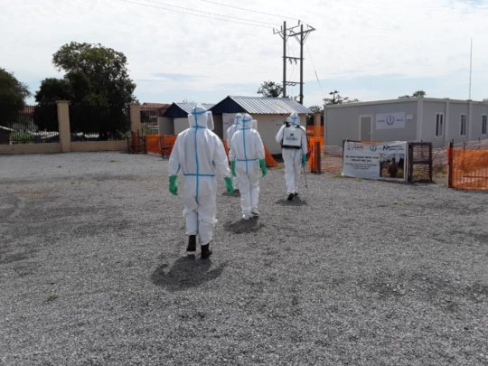Healthcare workers in South Sudan wearing PPE